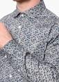 Network Slim Fit Desenli Uzun Kollu Gömlek Gri